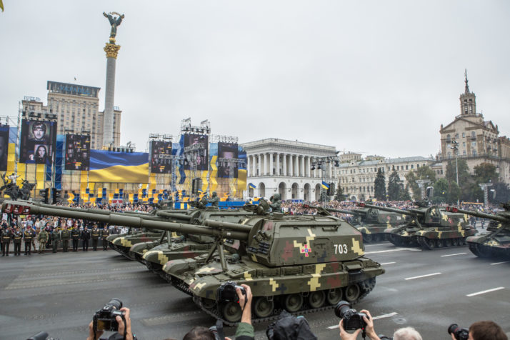 A military parade to celebrate the 25th anniversary of Ukraine's independence, in August 2016. The fear is that Donald Trump will choose warm ties with Moscow over the exasperation of supporting Ukraine   Brendan Hoffman/Getty Images