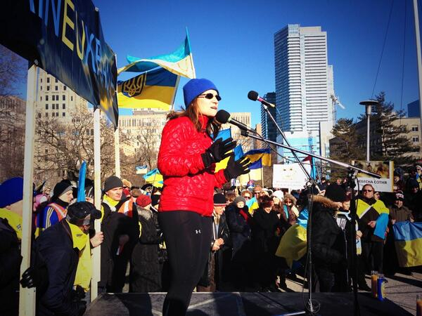 From Chrystia Freeland's Twitter. Speaking in #Toronto today, we must continue to support the Maidan & a democratic #Ukraine.